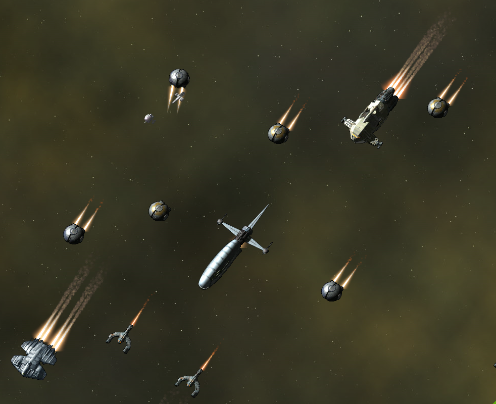 The mission code assumes that all ships have the same speed so they spread out a little. This will get worse in the next version, because I added a manticore to the mix. It still looks pretty dang impressive.